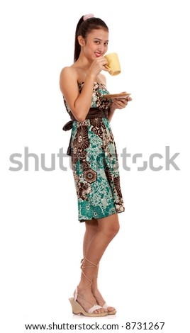 fashionable lady having a coffee break - standing on a white background - stock photo