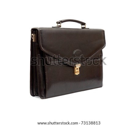 Fashionable leather briefcase on a white background - stock photo