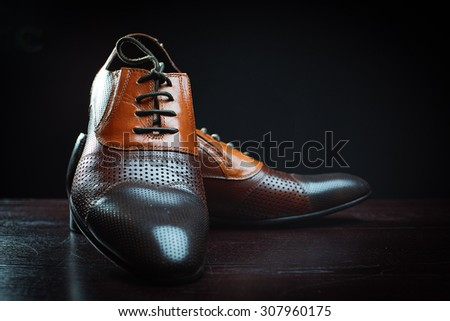 Fashionable leather shoes for men - stock photo