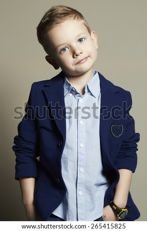 fashionable little boy.stylish kid in suit. fashion children - stock photo