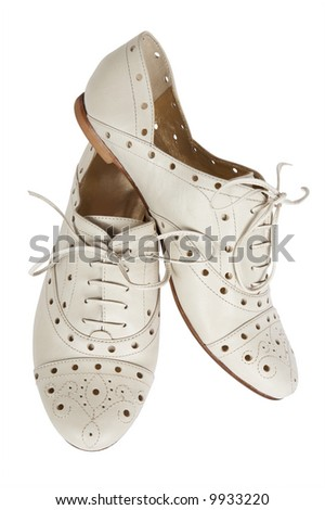 Fashionable low shoes on a white background - stock photo