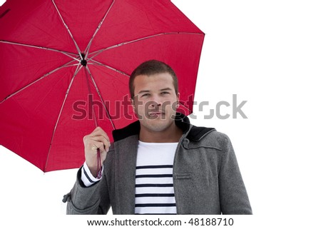 Fashionable Male under an umbrella - stock photo