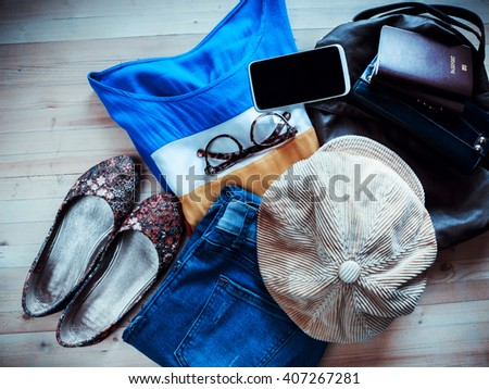 Fashionable men's clothing. Apparel with Accessories. - stock photo
