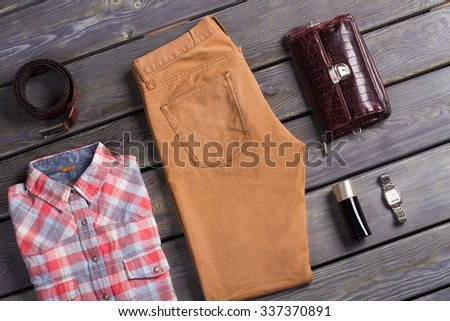 Fashionable men's set of beautiful clothes. Stylish men's clothing. - stock photo