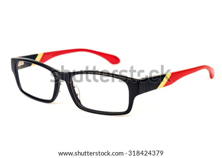 Fashionable pair of spectacles isolated over white background. - stock photo