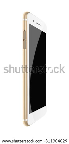Fashionable phone realistic smartphone iphon style mockup with black screen isolated on white background. Highly detailed illustration.