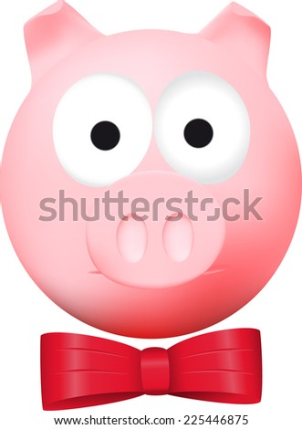 Fashionable pig with red bow - stock photo