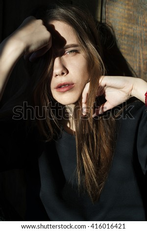 Fashionable portrait of a beautiful girl - stock photo