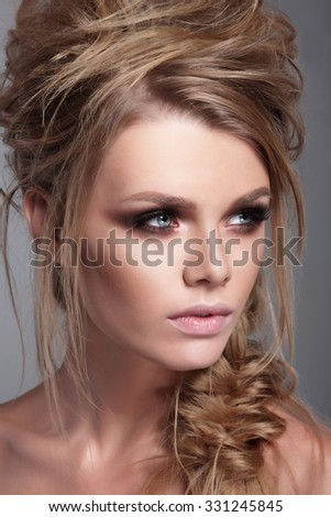 Fashionable portrait of a woman close-up. Beauty and fashion. - stock photo