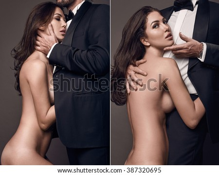 Fashionable portrait of elegant sexy couple in studio. Naked beautiful woman hugging a brutal man in suit on dark background - stock photo