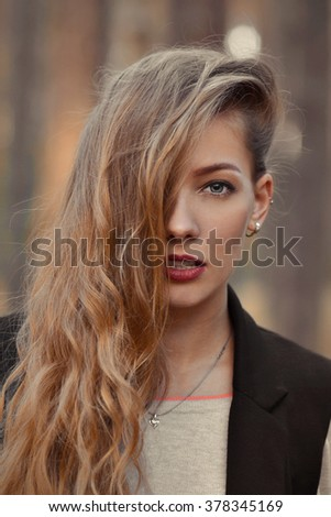 Fashionable portrait of fashionable,gorgeous,stunning girl.Closeup portrait of very beautiful,attractive,sexy,sexual,seductive girl,model with shiny,gloss,long hair,red lips,opened mouth,perfect face - stock photo