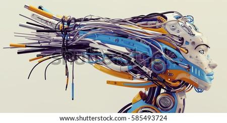 Fashionable Robot Geisha Bright Blue Orange Stock Illustration ...
