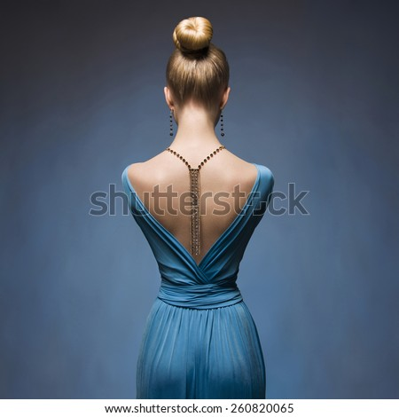 Fashionable Sexy blond girl.Beauitiful young woman in blue dress.Accessories - stock photo