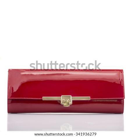 Fashionable shiny red leather handbag