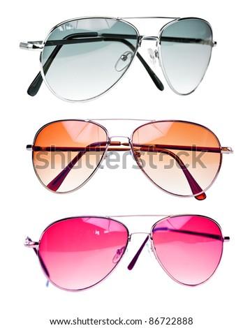 Fashionable sunglasses isolated on a white background - stock photo