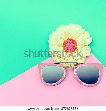 Fashionable Sunglasses. Pastel Colors. Trend of the season. - stock photo