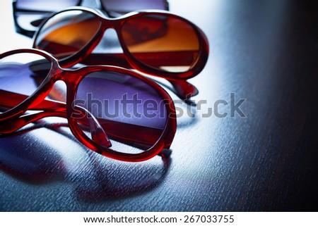 Fashionable sunglasses. Vintage stylized. - stock photo