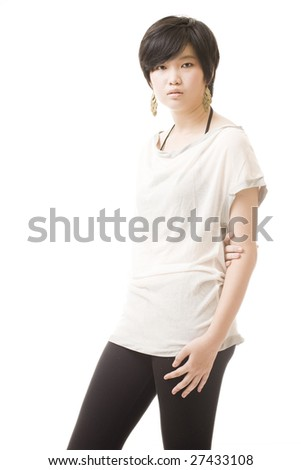 fashionable teenage asian girl against white background