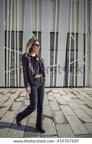 Fashionable urban street style elegant woman