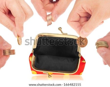 Fashionable wallet and coin in man hands over white background - stock photo