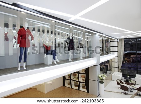 Fashionable window of modern store - stock photo