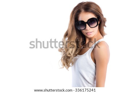 Fashionable woman in sunglasses isolated on white background.