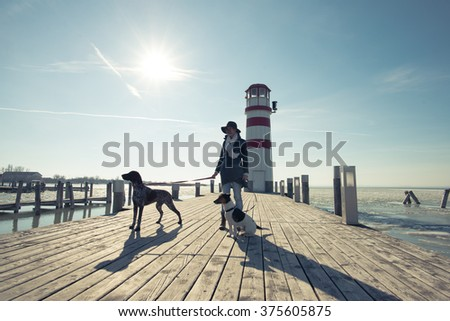 Fashionable woman posing with dogs outdoor - stock photo