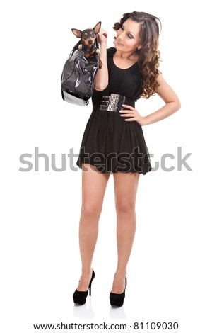 fashionable woman with dog, trendy lifestyle, isolated on white background - stock photo