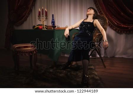 Fashionable women in a luxury boudoir - stock photo