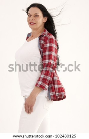 Fashionable women over 40 without a perfect body /Fashionable without dream figure - stock photo