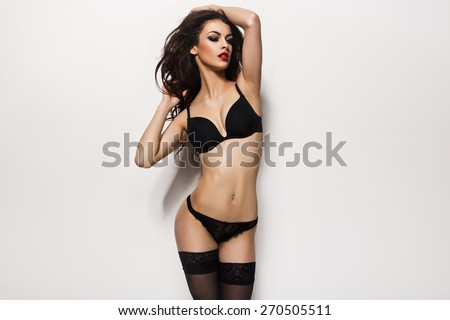 Fashionable young blonde sensual woman  - stock photo