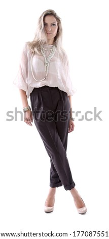 Fashionable young female. Isolated on a white background.