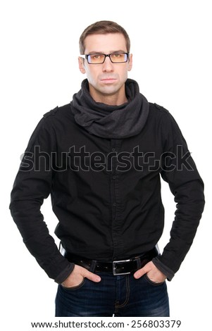 Fashionable young man in casual wear posing against white background - stock photo