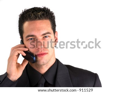 Fashionable Young Man Networking On A Cell Phone/Mobile, (space for text)
