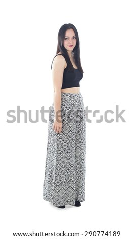 Fashionable young woman posing against a white background - stock photo