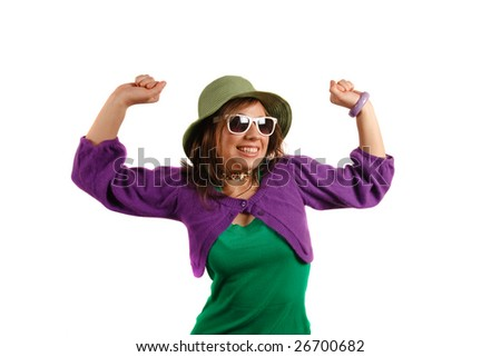 Fashionable young woman with her hands raised - stock photo