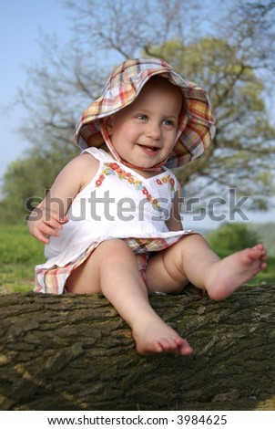 Fashionably Dressed Baby Girl - stock photo