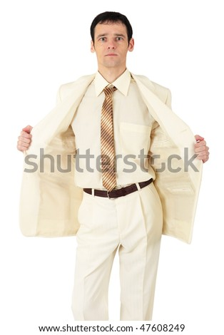 Fashionably dressed young man on a white background - stock photo