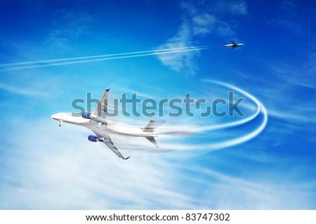 Fast airplane illustration - stock photo