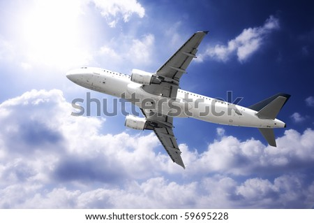 Fast airplane in the sky - stock photo