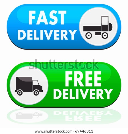 Fast and free delivery icons - stock photo