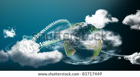 Fast and safe cloud computing on our planet illustrated with digits - stock photo
