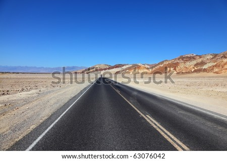 "Fast and safe road in the wilderness ""Death Valley"". California - stock photo"