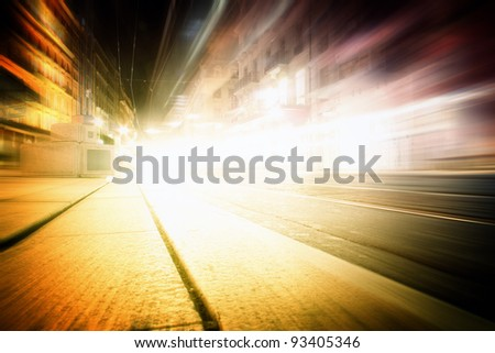 Fast car on the highway. - stock photo