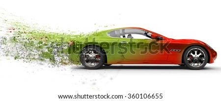 Fast car - paint peeling off - stock photo