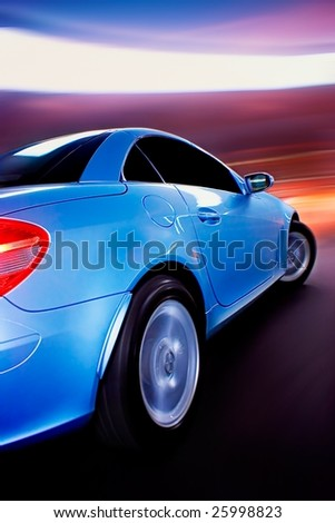 Fast Car with Motion Blur - stock photo