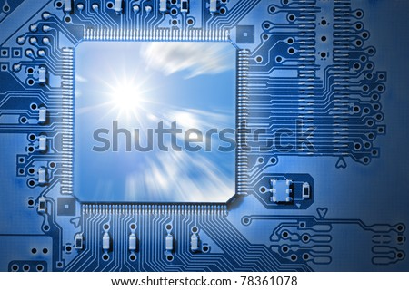 Fast CPU / Processor with sun and cloud graphic, representing power and speed and efficiency, on blue computer, electronic circuit board - stock photo