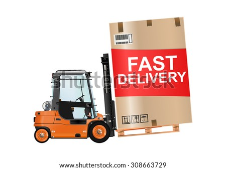 Fast delivery. Forklift truck with a huge box on the white background. Raster illustration. - stock photo