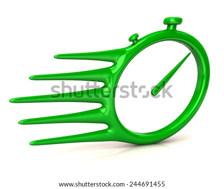 Fast delivery icon. Green stopwatch. - stock photo