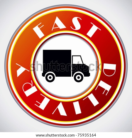 Fast delivery icon on white background - stock photo